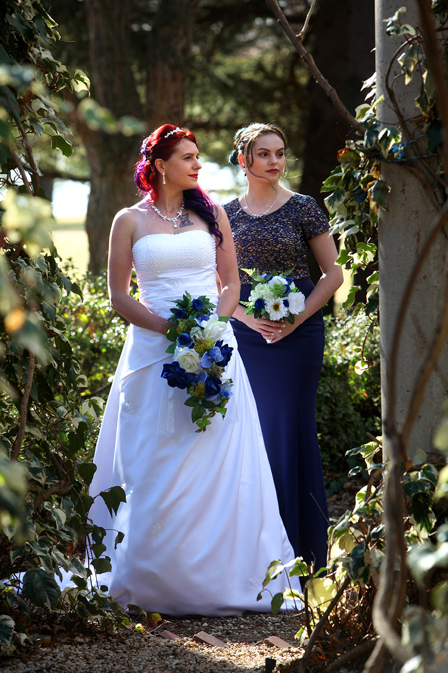 Beautiful black and white bridal gown photographer. Murwillumbah based photographer covering wedding in ACT Canberra, mother and daugter bridesmaid, flowers